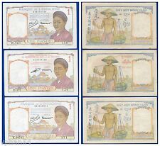 FRENCH INDOCHINA 1 PIASTRE OLD LADY, LOT OF 3 , NO PINHOLE. UNC.