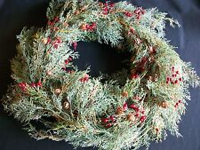 "Artificial 18"" Pine Christmas Wreath Holly Berries Pine Cones Holiday"