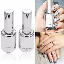 2Pcs 15ML Metallic Mirror Effect Metal Silver Nail Polish Varnish +15ML Top Coat