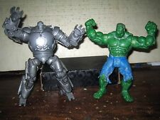 "2 RARE HTF MARVEL COLLECTABLE ACTION FIGURES HULK , IRON MAN ,"" SOLD AS IS """