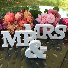 Sign Wooden Standing White Mr and Mrs Letters Top Table Wedding Decoration