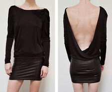 Dress Faux Leather Mini Skirt Open Back Blouson Long Sleeves Sexy Jersey Knit S