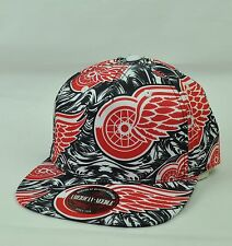 NHL American Needle Detroit Red Wings Clip Buckle Black Red Flat Bill Hat Cap