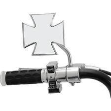 Gambo Corto Cromo Croce Maltese Specchio Per Harley-Davidson. per sx o dx