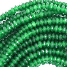 "2x4mm faceted jade rondelle beads 7.5"" strand green"