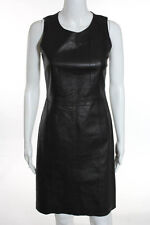 Banana Republic Dark Brown Leather Sleeveless Cocktail Sheath Dress Size 0