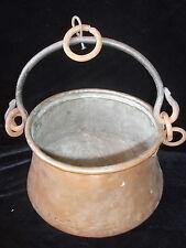 Antiguo Hecho a Mano Cobre y Hierro Gypsy Olla/fuego Caldero condición utilizable Pan