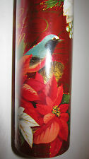 """Punch Studio MERRY BIRDS CHRISTMAS FOIL WRAPPING PAPER. 30""""X 10 Feet. GORGEOUS!"""