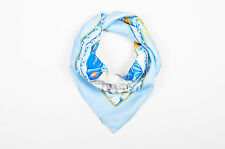 "Hermes Light Blue Multicolor Nautical Print ""Vive le Vent"" Scarf"