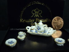 DOLLHOUSE TEA SET/ BLUE ONION/ REUTTER PORCELAIN/ 1:24TH SCALE