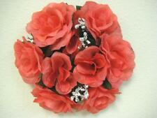 "3 CORAL Rose Candle Rings 3"" Center Piece Artificial Silk Flowers 4005CO"