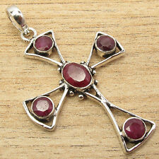 The Art Is Considered Timeless !! 925 Silver Plated 5 RUBY Gems CROSS Pendant