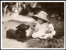 SCOTTISH TERRIER AND CUTE BABY GIRL LOVELY IMAGE DOG PRINT POSTER