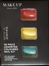 Make-Up Gallery Too Hot False Nails 36 Piece Red Yellow & Aqua With Glue New