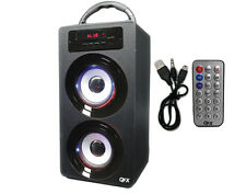 Black Portable Rechargeable Tower Bluetooth Boombox Speaker + USB/SD/AUX/MP3/FM
