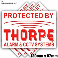 6 x 130mm Thorpe Alarm CCTV™ Security Stickers-Alarm Warning Signs-Bell Box,Door