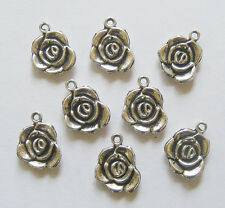 8 Metal Antique Silver Colour Flower/ Rose Charms - 14mm x 17mm