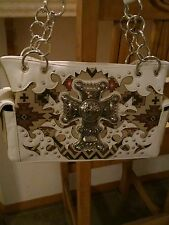 Western ivory  rhinestone cross purse with concealed pouch