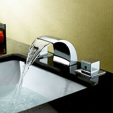 Vaniy Sink Waterfall Faucet Bathroom Basin Mixer Tap Brass Widespread Three Hole