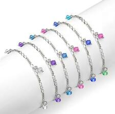 Italian Crystal Bead Bracelet and Anklet Set with Swarovski Crystals