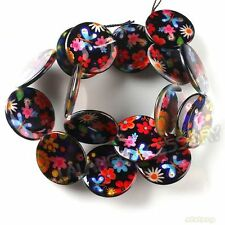 1string 111520 Round Colorful Flower Disc Shell Beads 20mm Fit Jewelry Making
