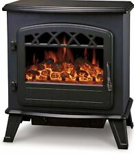 Electric Stove Heater with Log Flame Effect Fire Fireplaces Black Top Quality!