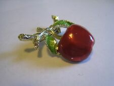 Vintage GERRY'S Silver Tone Pin/Brooch W/Red Enamel Cherry & Green Leaves