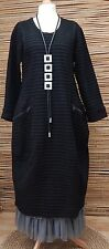LAGENLOOK*MB GERMANY*WOOL MIX AMAZING BALLOON QUIRKY DRESS*BLACK*BUST 46-48-50""