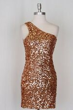 Womens Brown Copper Colored Sequin Party Club Holiday Mini Dress Size L