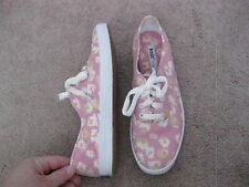 KEDS Original Pink w/ White Yellow Flowers Canvas Sneakers Oxfords 6.5 M - CUTE