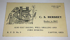 Antique Victorian C. S. Hershey Farm Dealer Business Card! Hay, Drilling C.1899