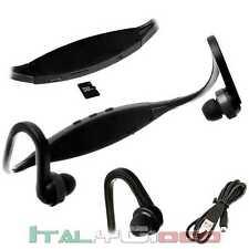 Cuffie Sport Micro SD Lettore MP3 Fitness Radio Auricolari Corsa Running Nero