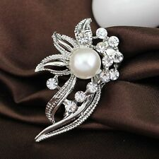 Cute Silver Plated and Pearl Flower Wedding Brooch Pin