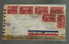 1944 Mexico DF to Buenos Aires Argentina Dual Censored Airmail cover