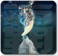 Lederkette Wolfzahn Halskette Wolfkopf  Kette Anhänger Zahn Surferkette Surf