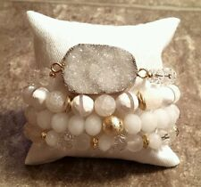 4 WHITE DRUZY CRYSTAL GEMSTONE BEAD STRETCH JEWELRY BRACELETS SET AGATE GOLD