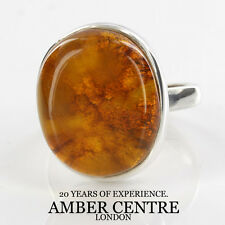 Cloudy Orange Antique Baltic Amber In 925 Sterling Silver RRP £70; WR228; Size N