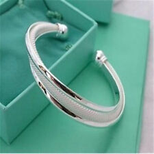 -UK-Fashion Copper Bevel Edge Mesh Bangle With 925 Sterling Silver Plated  (064)