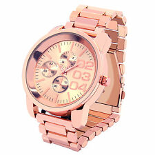 Mens Rose Gold Plated Metal Band Rose Face Fashion Casual Quartz Wrist watches