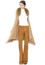 Alice + Olivia fox fur collar camel long sweater wrap cardigan coat S