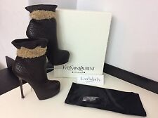 YSL YVES SAINT LAURENT 38 Uk 5 Rrp £720  BROWN LEATHER, TRIBTOO ANKLE BOOTS