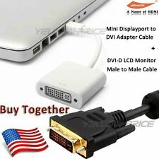 Thunderbolt Mini DisplayPort DP to DVI Adapter Converter+15FT DVI-D MonitorCable