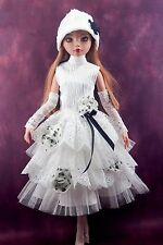 "handmade doll clothes for ellowyne wilde 16"" white dress set + hat + legging"