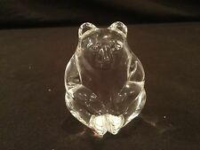 STEUBEN  CRYSTAL BEAR PALM HAND COOLER WARMER PAPERWEIGHT