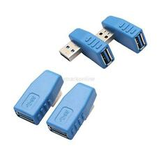 2pcs Blue Right+Left angle 90 Degree USB 3.0 A Male to Female Connector Adapter