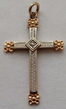 14 K TWO TONE YELLOW AND WHITE GOLD CROSS PENDANT WITH ONE DIAMOND FREE SHIPPING
