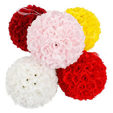 10'' Wedding Party Home Decoration Flower Kissing Ball Silk Rose Pomander White