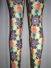 NWT Sexy YELLOW PINEAPPLE Copa Cabana PLUS LEGGINGS - 1X / 2X fits 14 16 18 20