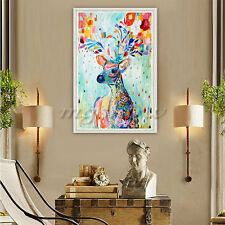 DIY 5D Diamond Painting Embroidery Colorful Deer Cross Crafts Stitch Home Decor