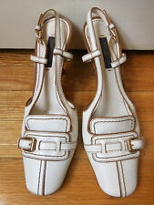 Louis Vuitton White Leather Front Buckle High Heel Sling Back Shoes Sz 35.5/ 5.5